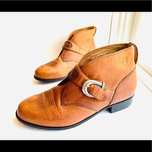 New Ariat Leather Buckle Strap Western Ankle Boots